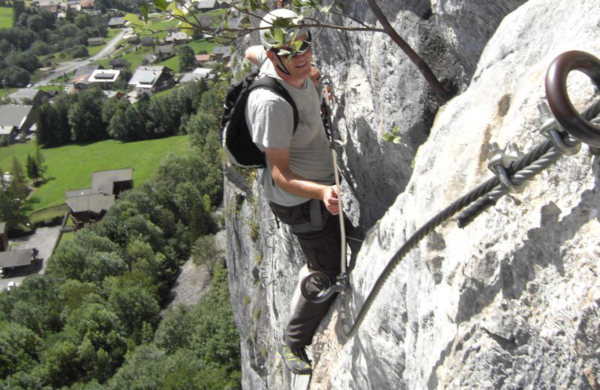 Paul Bradley on via ferrata in France